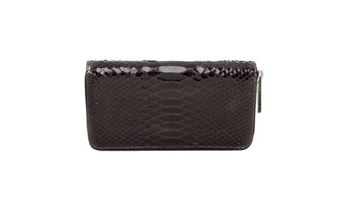Denmark Wallet, Coffee Glazed Snakeskin, Front