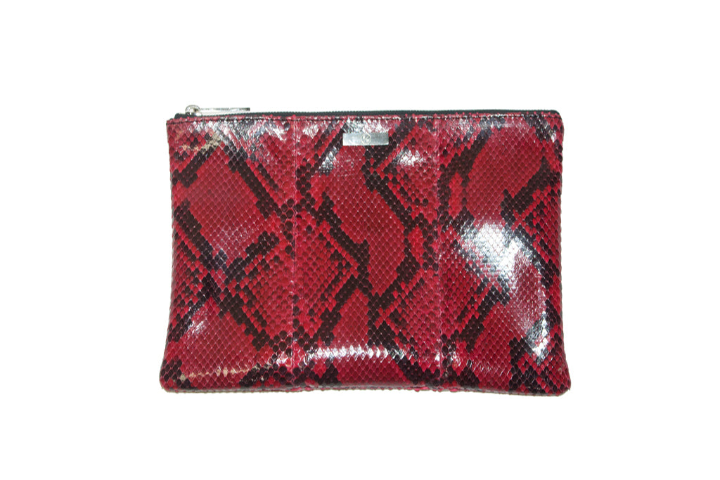 Harbor Island Clutch, Diamond Red Glazed Snakeskin
