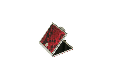 Anatolia Compact Mirror, Square Shaped Diamond Red Glazed Snakeskin