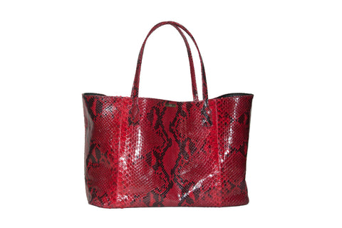 Sydney Large Tote, Diamond Red Glazed Snakeskin