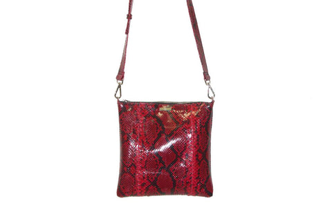 Tokyo Cross-Body, Diamond Red Glazed Snakeskin