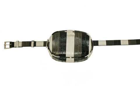 Avignon Fanny Pack with Belt, Black/White/Grey Eel Skin