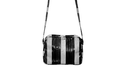 Venice Cross-Body, Black/Grey/White Eel Skin