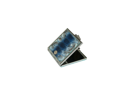 Anatolia Compact Mirror, Square Shaped Electric Blue Glazed Snakeskin
