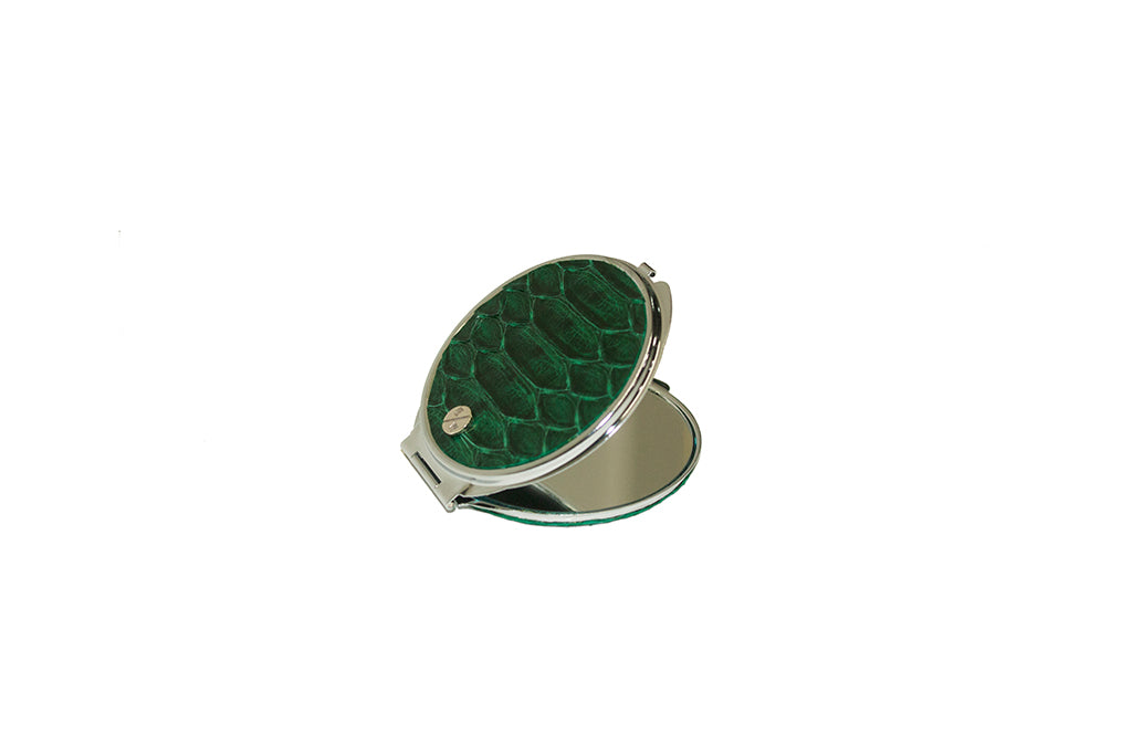 Anatolia Compact Mirror, Circle Shaped Emerald Glazed Snakeskin