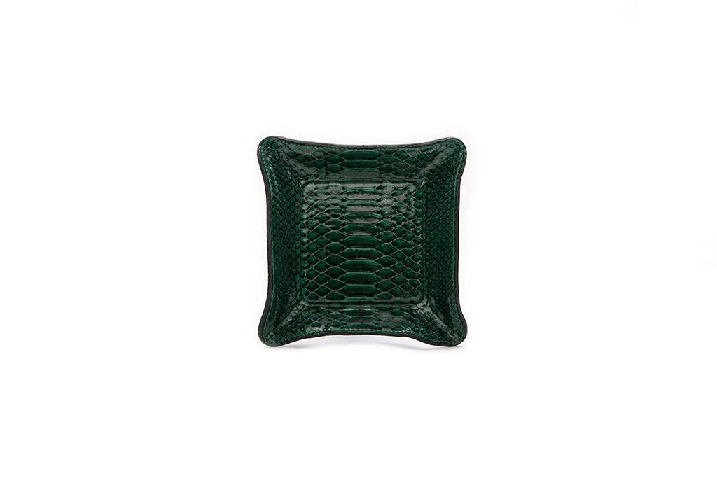 Quebec Travel Valet small, Emerald Glazed Snakeskin