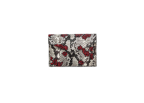 Provence Small Wallet, Hand-Painted Fallen Rose, Natural Python Elaphe