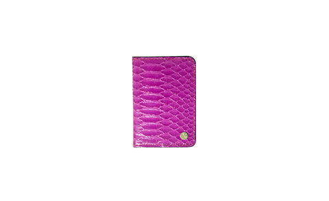 Panama Card Holder, Fuchsia Glazed Snakeskin
