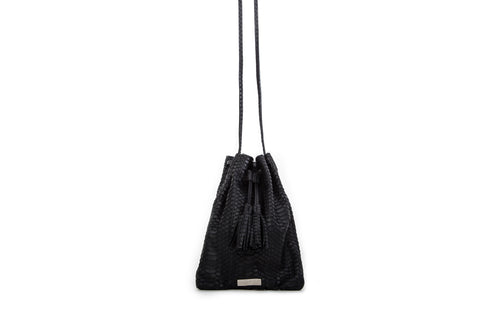 Glastonbury Pouch Cross-Body, Black Italian Watersnake