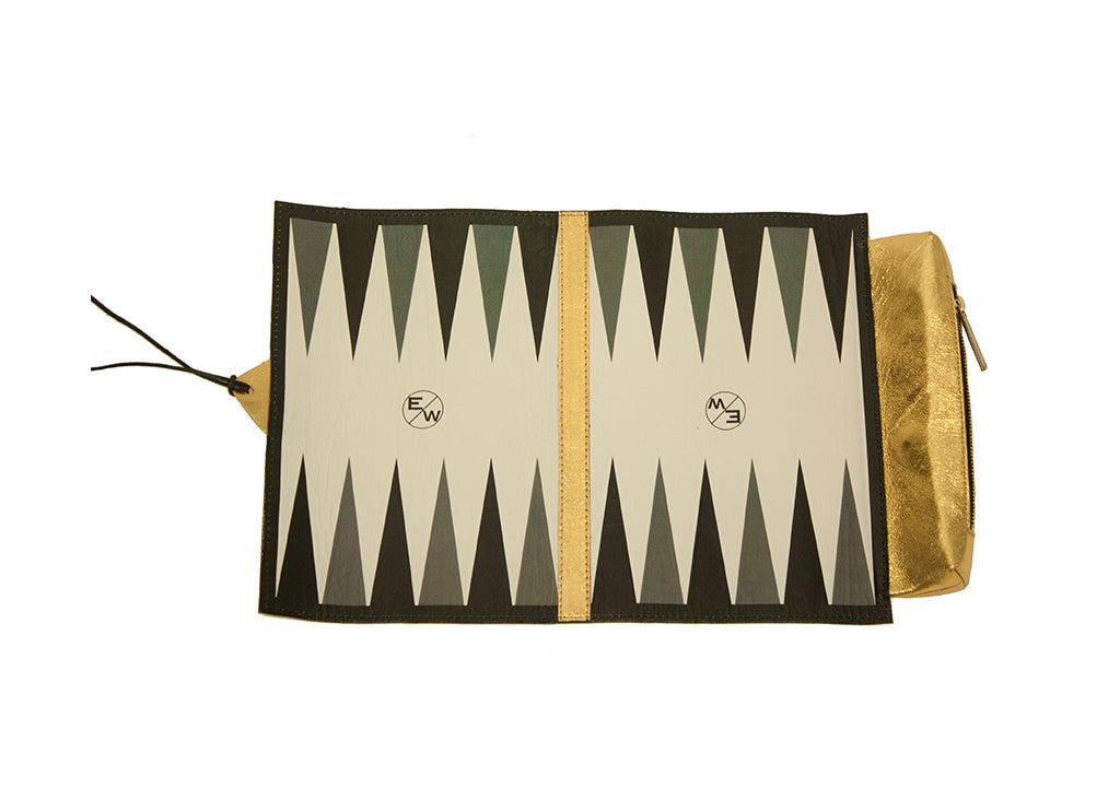 Egypt Travel Backgammon Set, Gold Lamb Skin