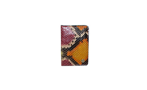 Panama Card Holder, Green Multi Color Snakeskin
