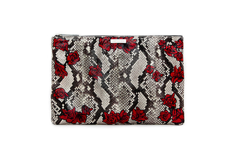 Harbor Island Clutch, Hand Painted Fallen Rose, Natural Python Elaphe