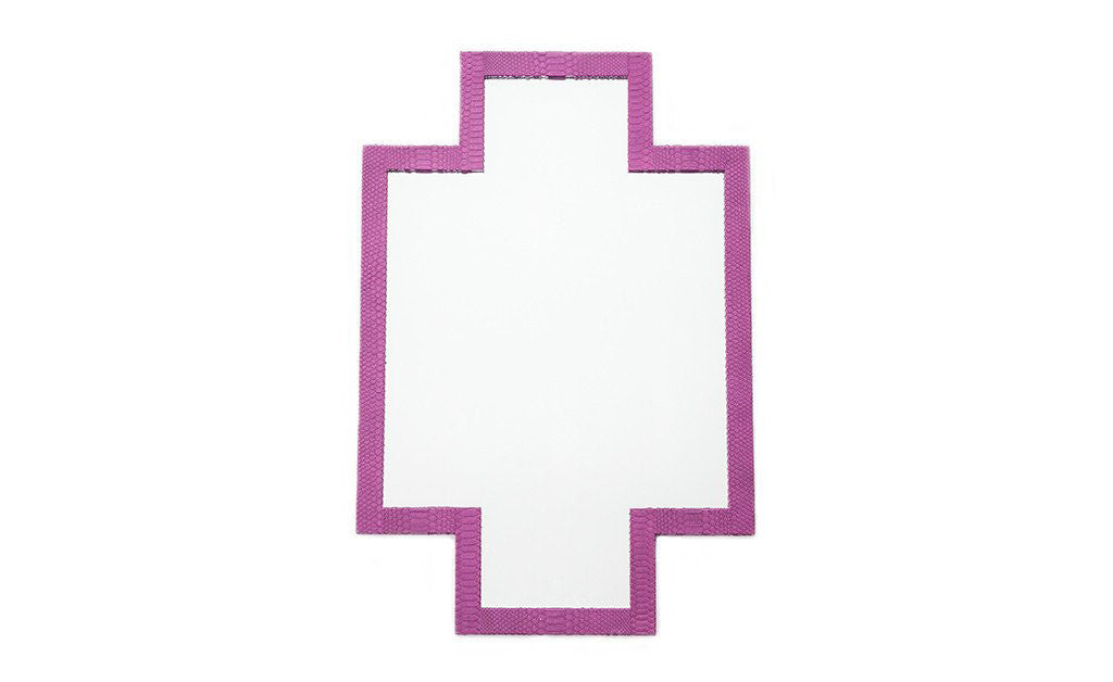 Jerusalem Cross Mirror, Pink Snakeskin