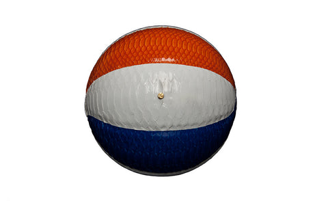 Springfield Basketball, White/Orange/Blue Glazed Snakeskin