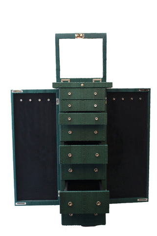 Luxembourg Large Jewelry Case, Emerald Snakeskin