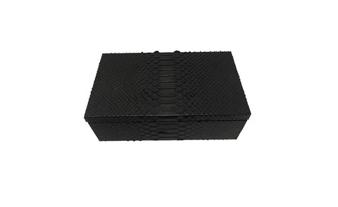 Manchester Cufflink or Jewelry Box, Matte Black Snakeskin