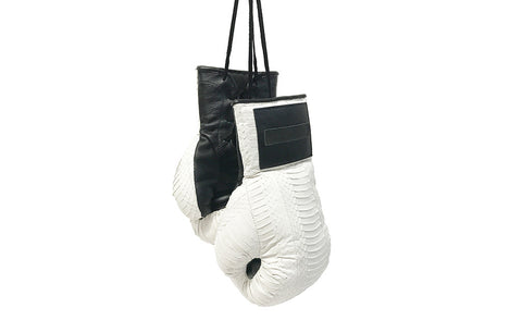 Manila Boxing Gloves, White Whipsnake w/ Black Lambskin Trim