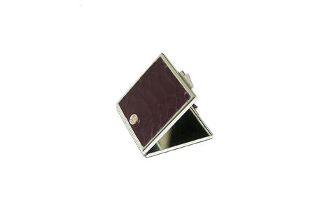 Anatolia Compact Mirror, Square Shaped Metallic Plum Matte Snakeskin