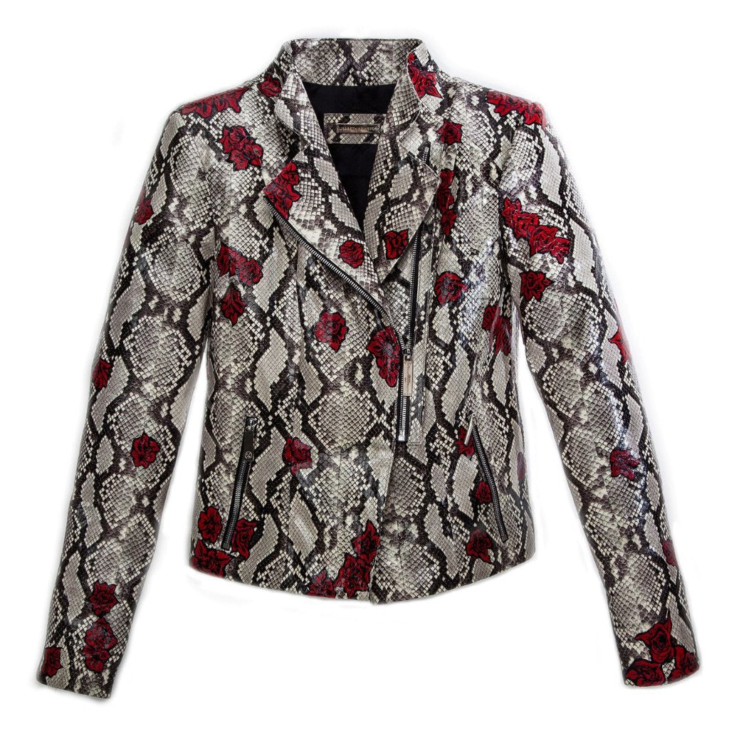 Moscow Biker Jacket, Hand-Painted Fallen Rose, Natural Python Elaphe