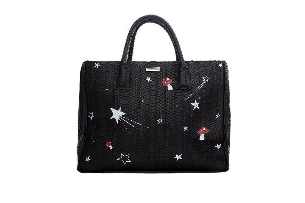 Belgravia Large Tote, Hand Painted Magic Mushrooms, Black Italian Watersnake