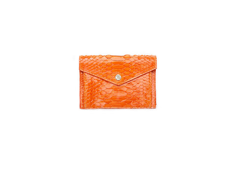 Provence Small Wallet, Orange Glazed Snakeskin