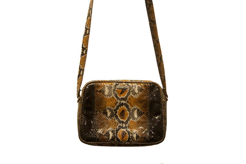 Venice Cross-Body, Orange and Coffee Glazed Snakeskin