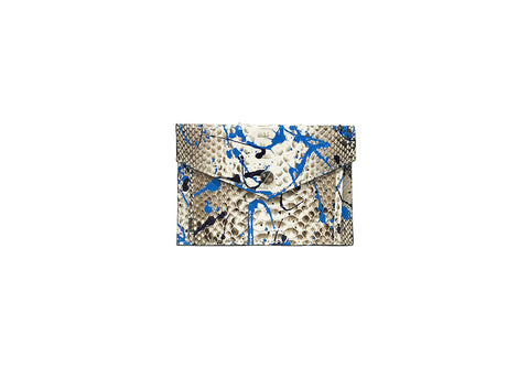 Provence Small Wallet, Blue Paint Splatter, Natural Snakeskin