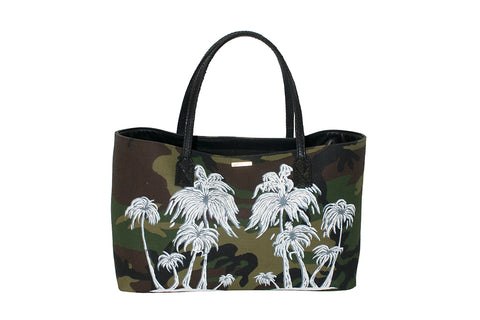 Sydney Large Tote, Hand-Painted Palm Trees Camo Fabric w/ Black Snakeskin Trim