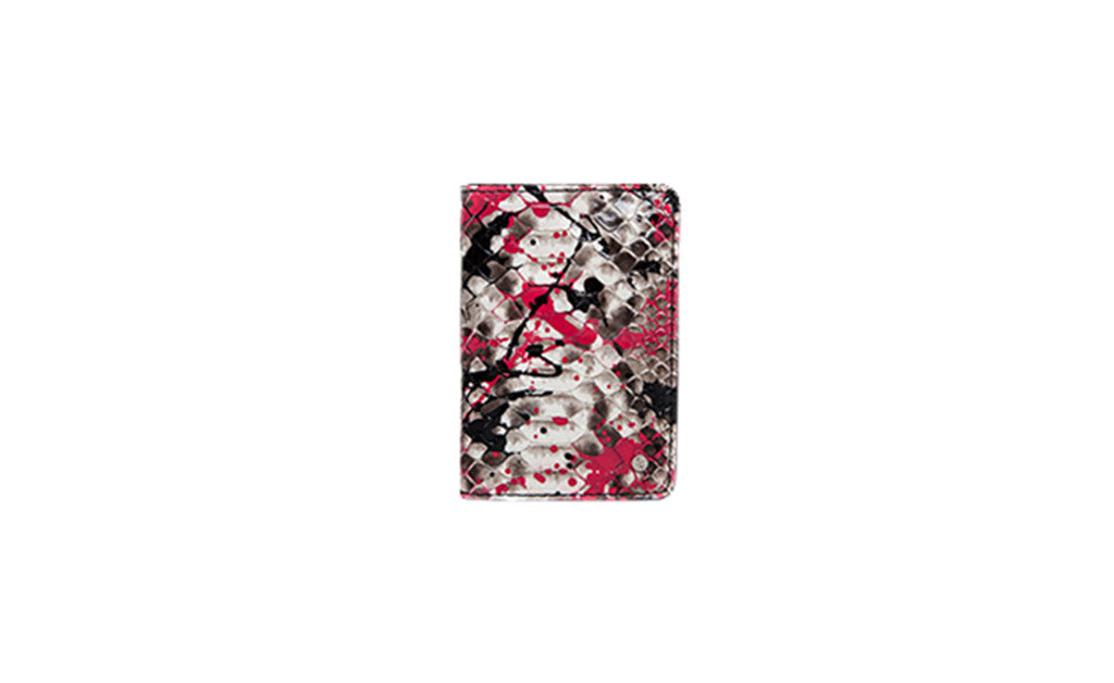 Panama Card Holder, Pink Paint Splatter Natural Snakeskin