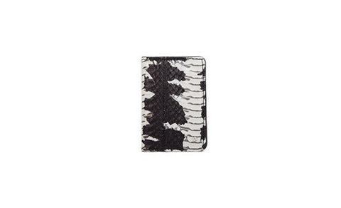 Panama Card Holder, Matte Black and White Starburst Whipsnake