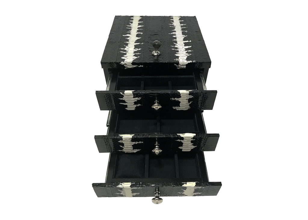 Peru Jewelry Box, Black and White Starburst Glazed Whipsnake