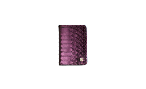 Panama Card Holder, Metallic Plum Snakeskin