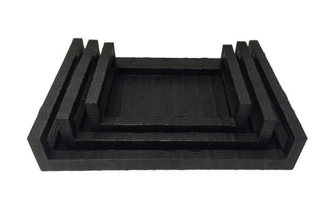 Portofino Stacking Trays, Matte Black Whipsnake