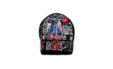The Andes Mini Backpack, Hand Painted Promise Land, Black Italian Leather