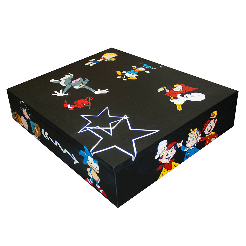 Custom Hand-Painted Punta Del Este Jewelry Box, Black Italian Lambskin