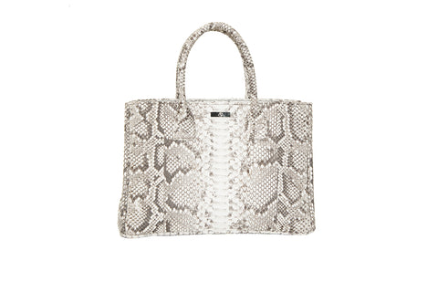 Belgravia Medium Tote, Salt N Pepper Snakeskin