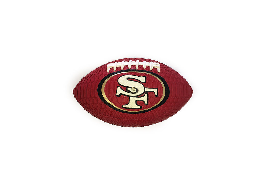 America Football, 49ers Red, Gold, Black, and White Snakeskin