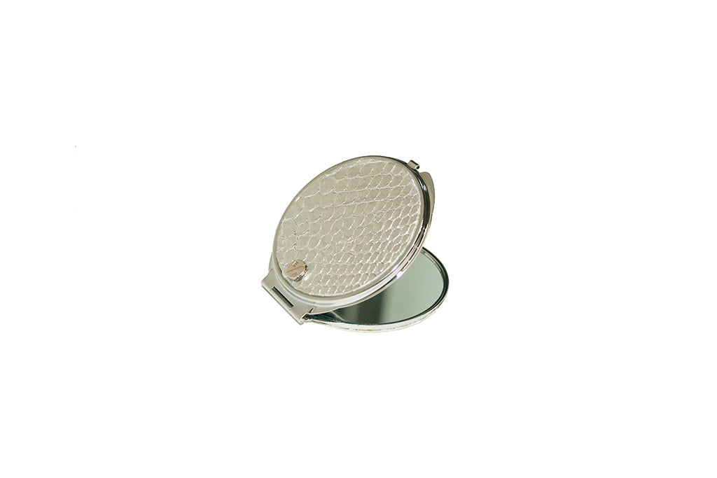 Anatolia Compact Mirror, Circle Shaped Silver Snakeskin