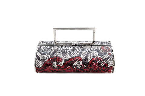 Singapore Hard Clutch, Hand-Painted Graffiti Python Print Elaphe