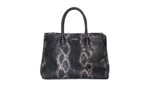 Belgravia Medium Tote, Spanish Charcoal Snakeskin
