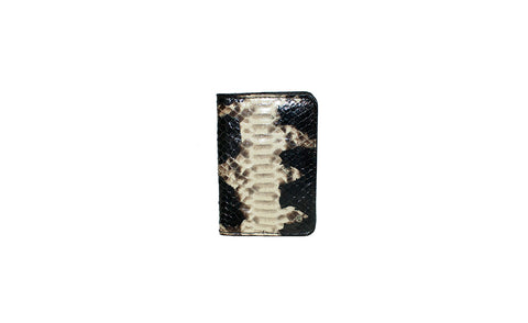 Panama Card Holder, B/W Starburst Glazed Snakeskin