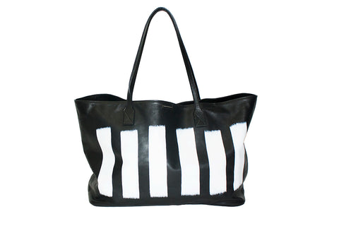 Sydney Large Tote, Hand-Painted White Lines Italian Leather