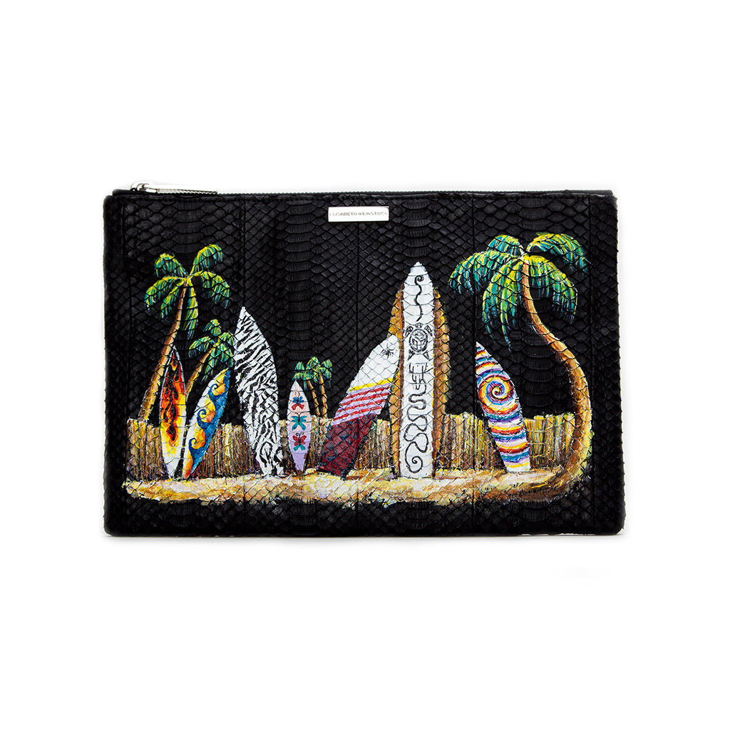 Custom Hand-Painted Harbor Island Clutch, Black Italian Watersnake