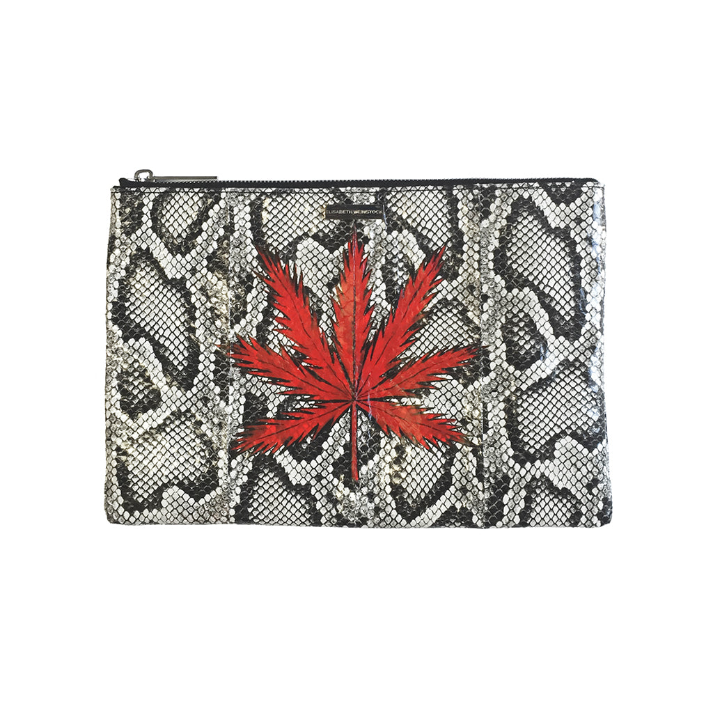 Custom Hand-Painted Harbor Island Clutch, Python Print Elaphe
