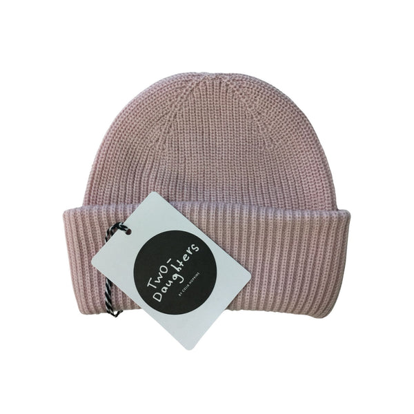 luxury merino beanie dusty pink
