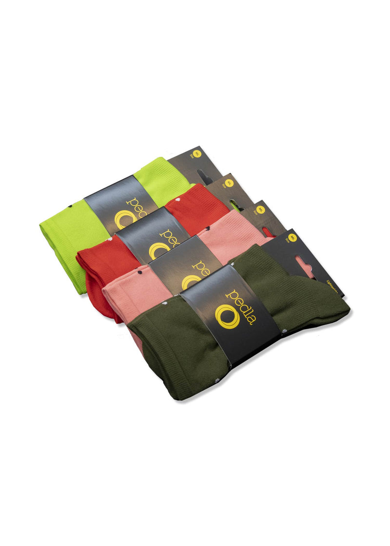 Lightweight Socks / Multi Pack  - Red, Olive, Lime Green, Pink