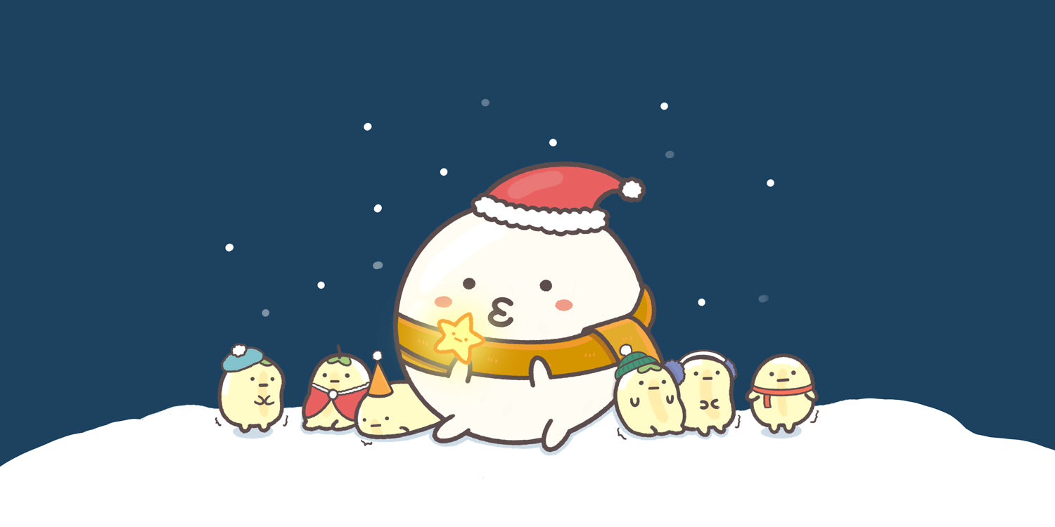 digital illustration of sumoboru bos spending christmas in snow with the soya sides