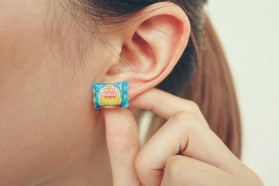 instant noodle maggi stud 2 way acrylic earring wheniwasfour
