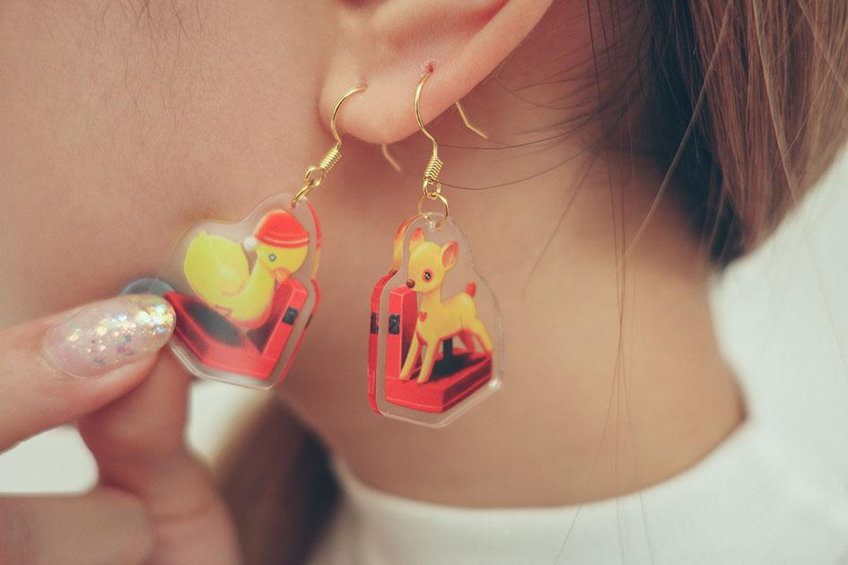 kiddy ride nostalgic acrylic dangling earring wheniwasfour