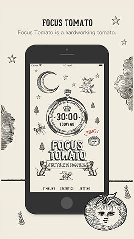 image of productivity phone application called focus tomato showing its home screen design